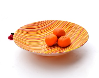 Fused glass art plate, orange yellow, red white and light brown stripes,  home decor, kitchen, dining, large