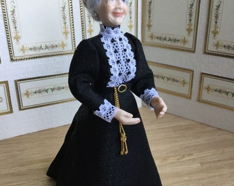 12th Scale Porcelain doll for dollhouses, 1:12 porcelain doll, Housekeeper doll