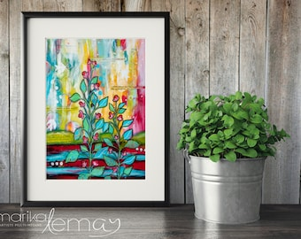 Giclee floral print by Marika Lemay mixed media artist flowers nature turquoise red