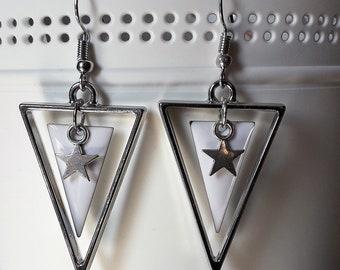 white silver triangular earrings