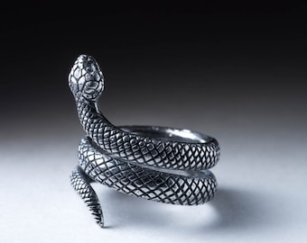 Snake Ring, silver, adjustable size, handmade