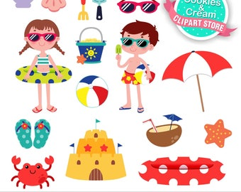 Pool Party Clipart Beach Summer Commercial Use Graphics