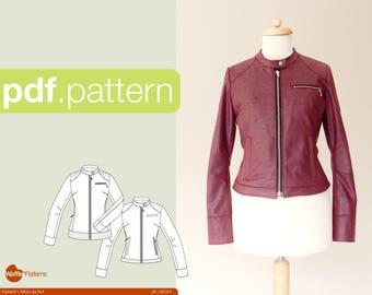 PDF sewing pattern Women Moto jacket  -Kaneel- (size 34-48)