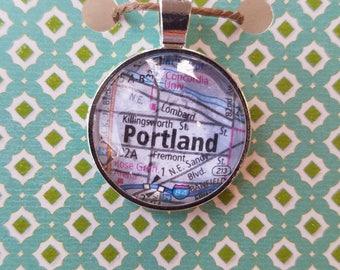 Glass Map Pendant - Portland, Oregon