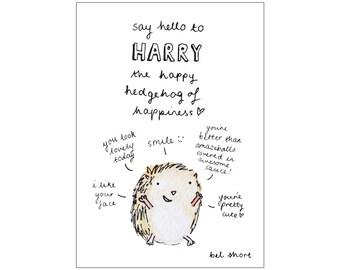 Harry the Happy Hedgehog 1 print, various sizes