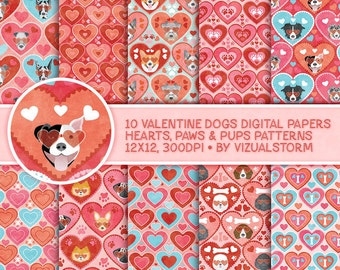 Dog Valentine Digital Paper Hearts Paw Prints Dogs Valentines Day Backgrounds Digital Pet Love Scrapbooking Paper Pack Pink Romantic Papers