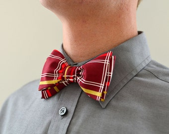 Men's Bow Tie in Maroon and Gold- freestyle wedding groomsmen custom bowtie neck self tie cranberry red metallic plaid white