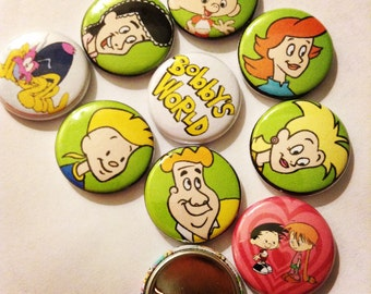 """1"""" Bobbys World pin Buttons Set of (9)"""