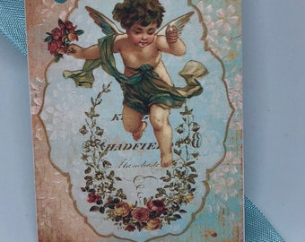 Cherub Gift Tags, Rose Tags, Shabby Chic Tags , Soft Pink Tags , Vintage Rose, French Tags , Vintage INSPIRED Gift Tags