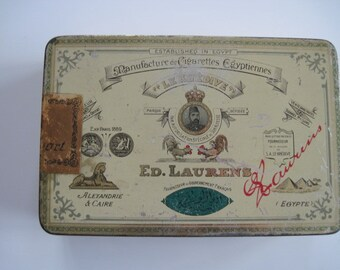 Ed Laurens Figaro Gold Tipped cigarette tin (100/empty) -  Ed Laurens  c.1910/40