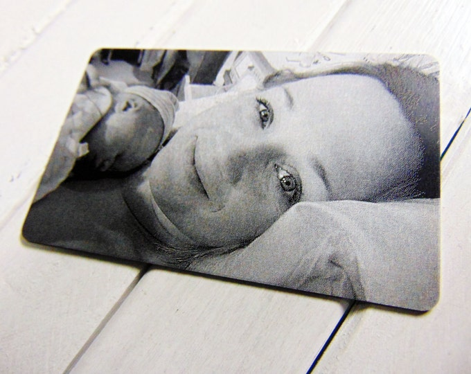 First Moments Mother's Day Engraved Picture Wallet Insert - Back Engraving Too- Laser Engraved, Metal, Handwritten Wallet Card- GIFT for her
