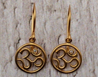 Satin Gold Plated Aum Diamond Earrings