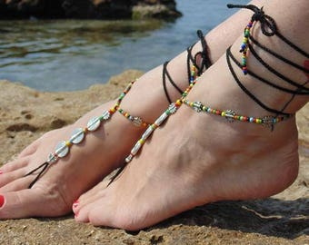 Spiral sandals Crochet Boho barefoot sandals Anklet foot yewelry Toe ring anklet Gypsy barefoot sandals Festival Beach Yoga Anklet