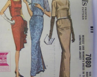 CHIC Vintage 1960s McCall's 7080 SHEATH EVENING Dress & Jacket Pattern sz 16 bust 36 COMplete