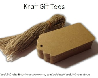 25,50,100 Large Kraft Gift Tags Die Cut & Twines - DIY Gift Tags - Wedding, baby shower favours,gift tags,goodie bag tags, price tags