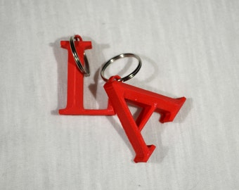 3D Printed Red Letter Keychain: A-Z