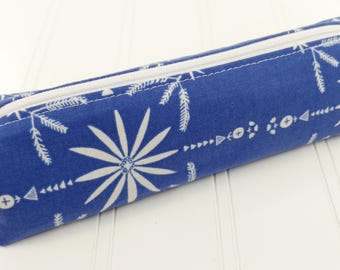 Pencil Pouch / Pencil Case - Blue Daisy