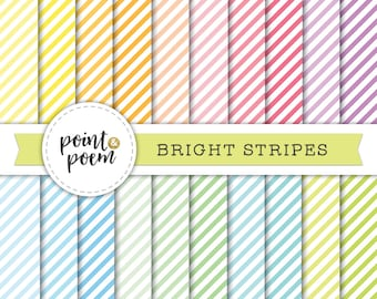 50% OFF SALE Stripes Digital Paper, Colorful Stripes Backgrounds, Bright Colors, Scrapbooking, Crafts - Commercial Use