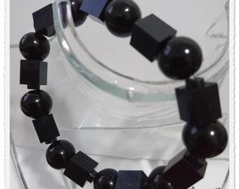 Black Lego Brick & Black Pearls Bracelet.