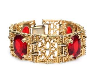 "Vintage Renaissance Revival ""Revisited"" Siam Rhinestone and Gold-Tone Metal Bracelet"