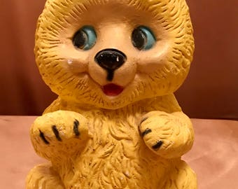 Vintage 1940s Chalkware Yellow Teddy Bear Bank. Carnival Prize.