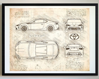 Brz etsy toyota gt 86 2017 da vinci sketch gt86 art blueprint patent malvernweather Choice Image