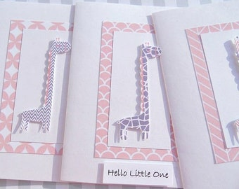 Welcome Baby Girl Cards - Giraffe Cards - Baby Girl Shower Cards - Baby Gift Thank You Cards - First Birthday Cards - Pink Grey Giraffe, pgg