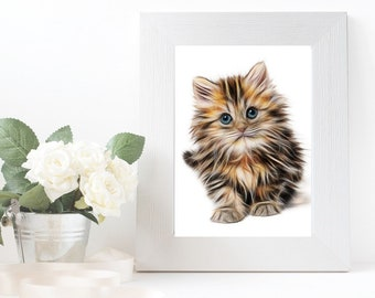 Cat painting print Kitten digital illustration Wall art printable Animal decor Digital print Art pictures Wall print artwork Watercolor art