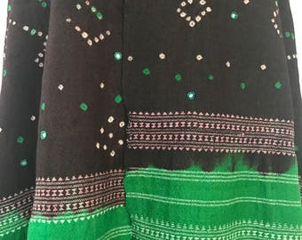 Handmade kachchhi tie-dyed wool mirrorwork embroidery shawl