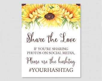 Sunflower Bridal Shower Hashtag Sign Printable - Bridal Shower Social Media Hashtag Sign - Personalized Share the Love Sign Yellow 0016-A
