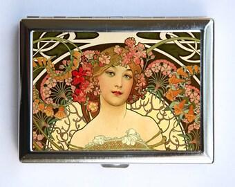 Art Nouveau Goddess Cigarette Case id case Wallet Business Card Holder flowers mucha