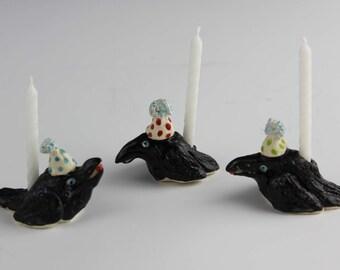 Raven Birthday Candle Holder, Handmade Ceramic Crow, Blackbird by Karlene Voepel.  Sold individually.