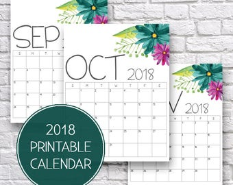 2018 Calendar, 2018 Monthly Calendar, Monthly Organizer, 2018 Calendar Printable, Monthly Planner, Daily Organizer, Printable Calendars