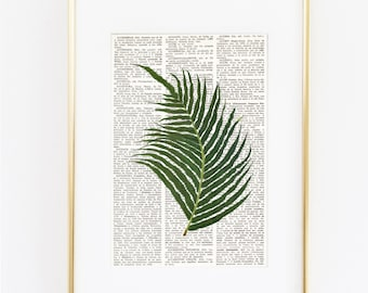 DICTIONARY print FERN, Botanical Print, Fern Painting, Greenery, Vintage Botanical, Farmhouse decor, Cottage style, Fern Wall Art, #193-4