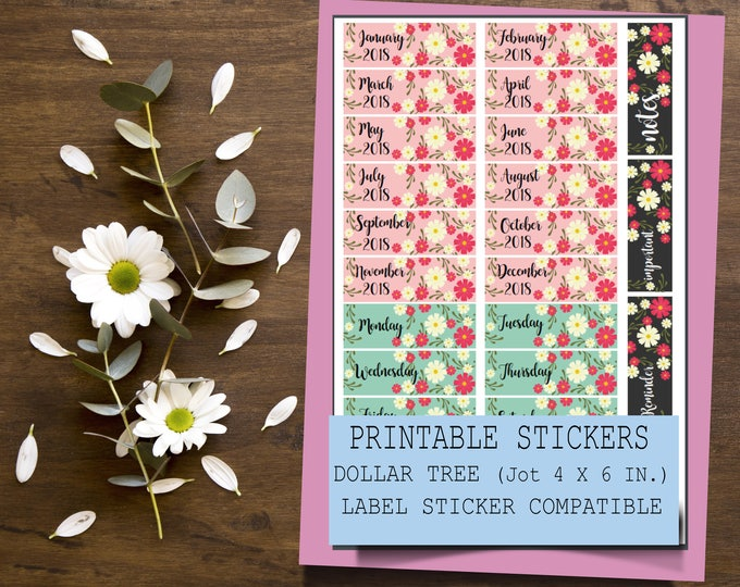 Printable Floral Months and Days Stickers   Jot Dollar Tree Sticker Label Compatible   Printable Planner Stickers   Floral Sticker