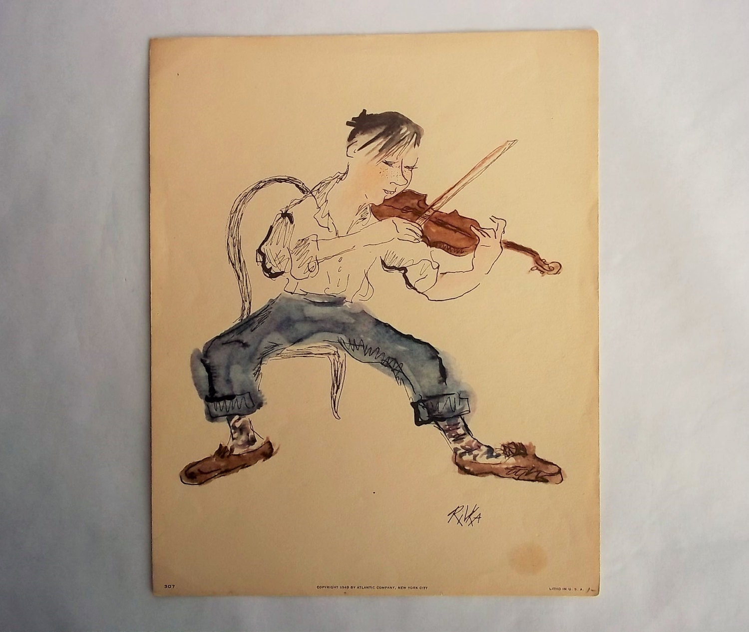 Wall Art Boy Playing Violin Vintage Litho Print USA by Rivka