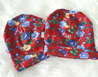 Floral Valentine's Day Slouchy Hat, baby beanie, child beanie, toddler beanie, vintage fabric, small batch, ready to ship, limited quantity