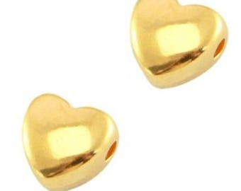 DQ Pearl, metal bead-1 piece-6 mm-Zamak-gold, gilded