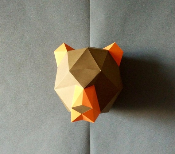 Trophy brown bear do by yourself bear diy kit room decor paper trophy brown bear do by yourself bear diy kit room decor paper craft wall decor paper animal head diy paper craft origami from yumegamishop on etsy solutioingenieria Gallery