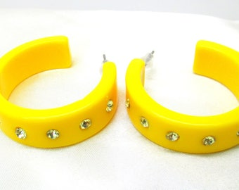 Vintage Yellow Lucite Rhinestone Hoop Earrings