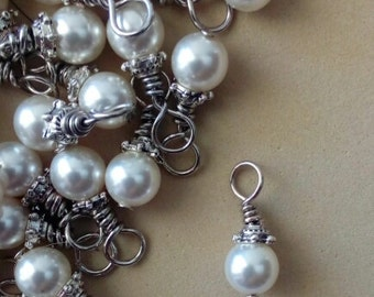 Handwrapped Pearl Charms - Pearl Charm - Supply - Wholesale Pearls - Wire wrapped Pearls