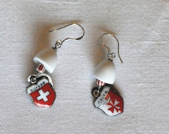 SUISSE AND MALTA Unique Handmade Earrings Using Vintage Beads and Charms
