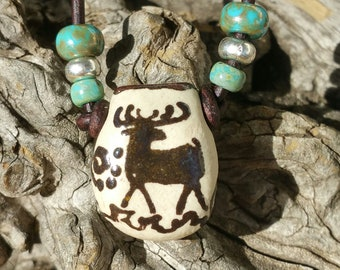 """Aromatherapy necklace - """"Honor"""" - Essential Oil diffuser necklace - Porcelain pendant - Oil diffuser - southwest style - #m27"""