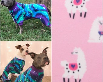 Llama Dog Pajamas, Fleece Dog Pajamas, Dog PJs, Dog Jammies, Dog Pyjamas, Dog Clothes, Dog Clothing, Large Dog Clothes, Cute Dog Clothes