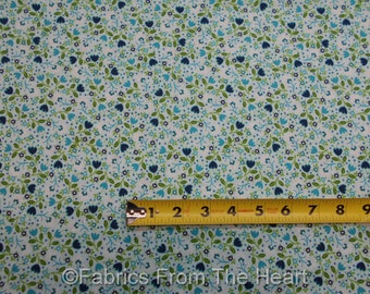 Bonita Floral Flowers Tulips on Aqua Blue BY YARDS Blank Quilting Cotton Fabric