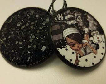 Black and white cabochon earrings