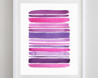 Stripes Watercolor Art Print