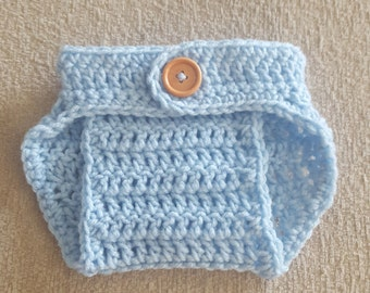 Crochet Baby Boy Baby Girl Diaper Cover, Photography Prop, Size Newborn and Infant – Light Blue