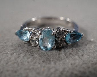 Vintage Sterling Silver Wedding Band Style Ring 7 Round Pear White Blue topaz Stacker Design,Size 8