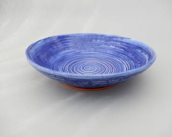 Pottery Serving Platter Bowl - Unique Blue Handmade Ceramic Bowl - Salad - Pasta - Decorative*